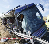 Autobús accidentado en Ávila en julio 2013